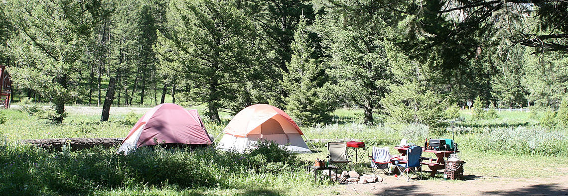 West Yellowstone campground on the Madison River