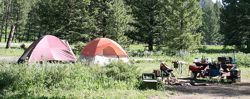 West Yellowstone campsite on the Madison River